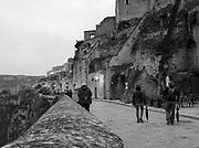 Matera, Italy rests above a deep ravine (La Gravina).