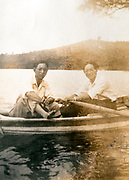 vacationing with rowing boat on the water Japan ca 1950s