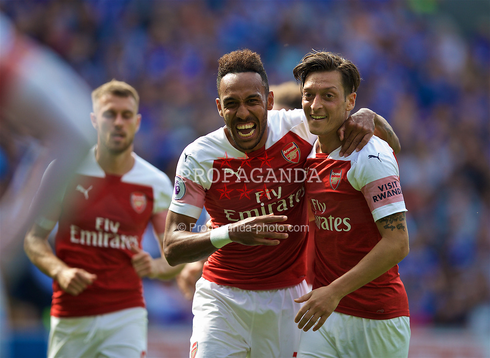 CARDIFF, WALES - Sunday, September 2, 2018: Arsenal's Pierre-Emerick Aubameyang (left) celebrates scoring the second goal with team-mate Mesut Özil during the FA Premier League match between Cardiff City FC and Arsenal FC at the Cardiff City Stadium. (Pic by David Rawcliffe/Propaganda)