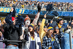 Nov 10, 2018; Morgantown, WV, USA; West Virginia Mountaineers students cheer during the second quarter against the TCU Horned Frogs at Mountaineer Field at Milan Puskar Stadium. Mandatory Credit: Ben Queen-USA TODAY Sports