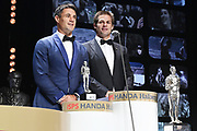 ISPS Handa Ambassadors Dan Carter and Richie McCaw, ISPS Handa Halberg Awards Decade Champion held at Spark Arena, Auckland. Wednesday 24 March 2021. Mandatory Photo Credit: Andrew Cornaga / www.photosport.nz