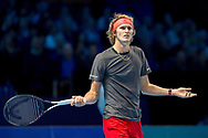 Alexander 'Sasha' Zverev of Germany queries a call during the Nitto ATP World Tour Finals at the O2 Arena, London, United Kingdom on 16 November 2018. Photo by Martin Cole