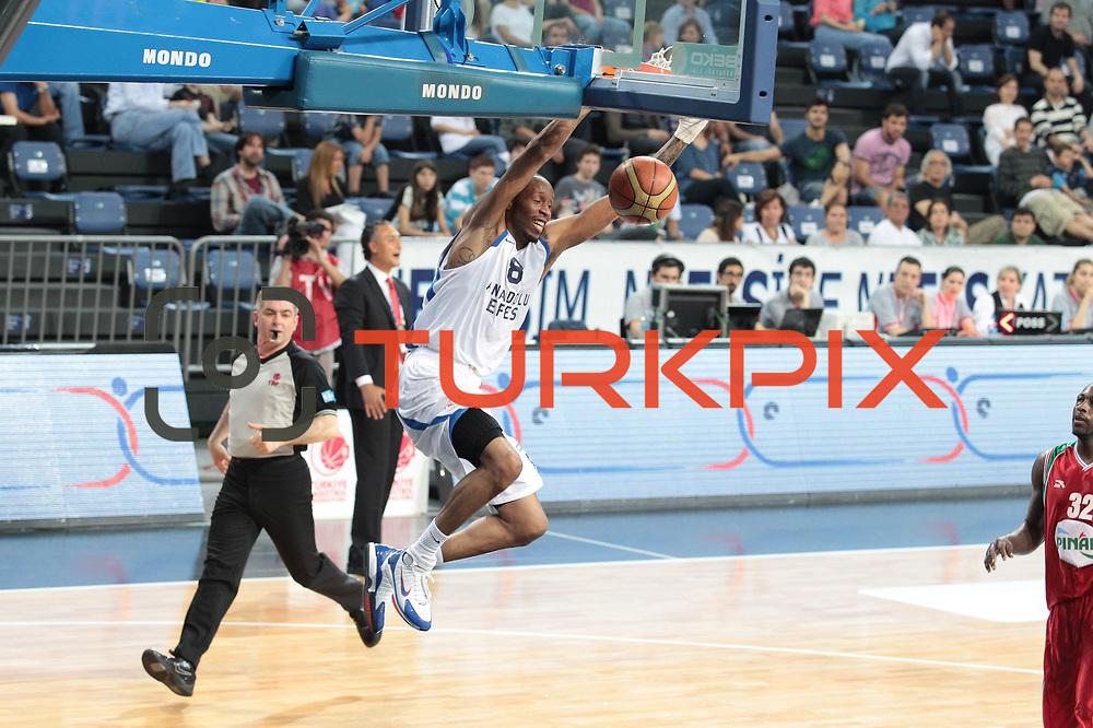 Anadolu Efes's Terence Kinsey during their Turkish Basketball League Play Off match Anadolu Efes between Pinar Karsiyakaat Sinan Erdem Arena in Istanbul, Turkey, Sunday, May 06, 2012. Photo by TURKPIX