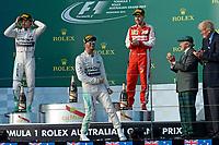 HAMILTON lewis (gbr) mercedes gp mgp w06 ambiance portrait<br /> ROSBERG nico (ger) mercedes gp mgp w06 ambiance portrait<br /> VETTEL sebastian (ger) ferrari sf15t ambiance portrait<br /> podium  during 2015 Formula 1 championship at Melbourne, Australia Grand Prix, from March 13th to 15th. Photo DPPI / Eric Vargiolu..