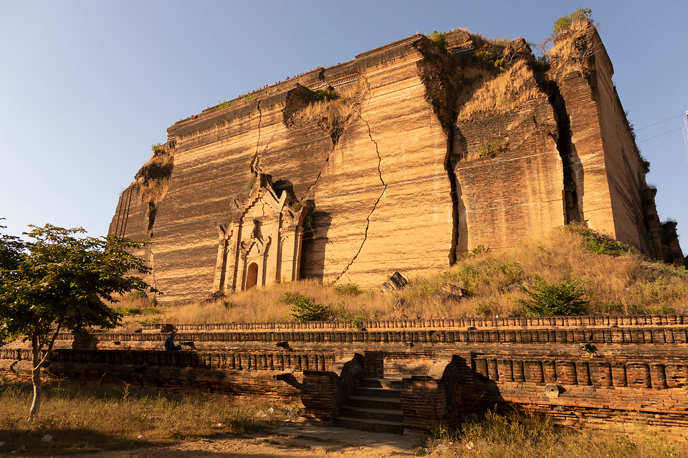 The Mingun Pahtodawgyi is an incomplete monument stupa in Mingun, approximately 10 kilometres northwest of Mandalay in Sagaing Region in central Myanmar. The ruins are the remains of a massive construction project begun by King Bodawpaya