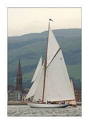 Moonbeam IV, a 105' Gaff Cutter off LArgs front at the start off Largs in the passage to Helensburgh...This the largest gathering of classic yachts designed by William Fife returned to their birth place on the Clyde to participate in the 2nd Fife Regatta. 22 Yachts from around the world participated in the event which honoured the skills of Yacht Designer Wm Fife, and his yard in Fairlie, Scotland...FAO Picture Desk..Marc Turner / PFM Pictures