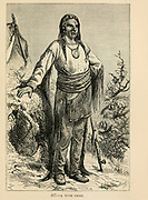 Yute (Ouray or Ute) Chief engraving on wood From The human race by Figuier, Louis, (1819-1894) Publication in 1872 Publisher: New York, Appleton