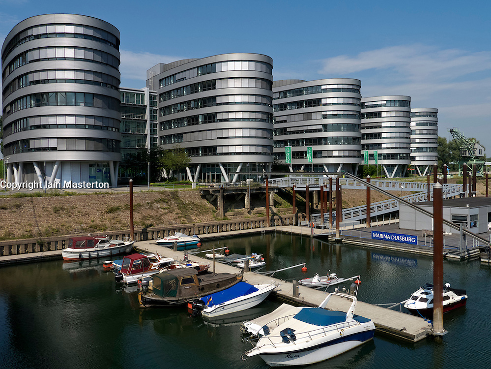 Modern office buildings called the Five Boats at Innenhafen area of Duisburg in North Rhine-Westphalia Germany