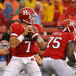 Sep 12, 2009; Piscataway, NJ, USA; Rutgers quarterback Tom Savage (7) looks for an open receiver during the first half of Rutgers' 45-7 victory over Howard in NCAA College Football at Rutgers Stadium.