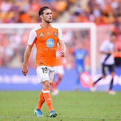 BRISBANE, AUSTRALIA - MARCH 31: Jack Hingert of the Roar looks on during the Round 25 Hyundai A-League match between Brisbane Roar and Central Coast Mariners on March 31, 2018 in Brisbane, Australia. (Photo by Patrick Kearney / Brisbane Roar FC)