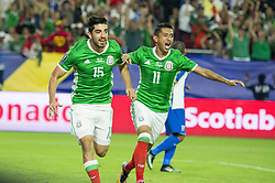 July 20, 2017 - Glendale, Arizona, U.S - Mexico's RODOLFO PIZARRO (15) and ELIAS HERNANDEZ (11) celebrates a goal against Honduras in the first half Thursday, July 20, 2017, during the 2017 Gold Cup Quarterfinals at University of Phoenix Stadium in Glendale, Arizona. (Credit Image: © Jeff Brown via ZUMA Wire)