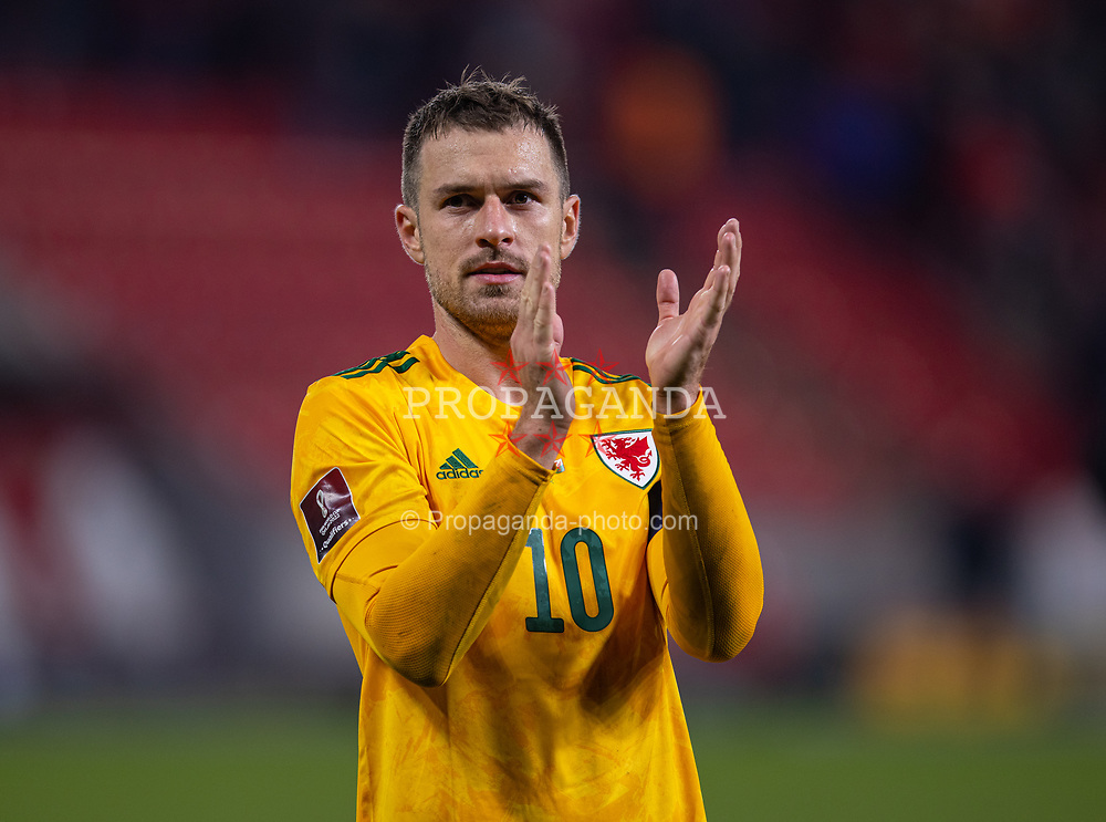 PRAGUE, CZECH REPUBLIC - Friday, October 8, 2021: Wales' captain Aaron Ramsey applauds the travelling supporters after the FIFA World Cup Qatar 2022 Qualifying Group E match between Czech Republic and Wales at the Sinobo Stadium. The game ended in a 2-2 draw. (Pic by David Rawcliffe/Propaganda)