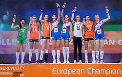 01-10-2017 AZE: Final CEV European Volleyball Nederland - Servie, Baku<br /> Nederland verliest opnieuw de finale op een EK. Servië was met 3-1 te sterk / Dreamteam 2017 met Laura Dijkema #14 of Netherlands, Anne Buijs #11 of Netherlands, Lonneke Sloetjes #10 of Netherlands. MVP Tijana Boskovic #18 of Servië