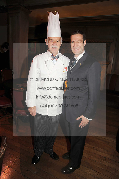 Left to right, chef ANTON MOSIMANN and his son PHILIP MOSIMANN at a party to celebrate the launch of Hollywood Domino - a brand new board game, held at Mosimann's 11b West Halkin Street, London on 7th November 2008.  The evening was in aid of Charlize Theron's Africa Outreach Project.