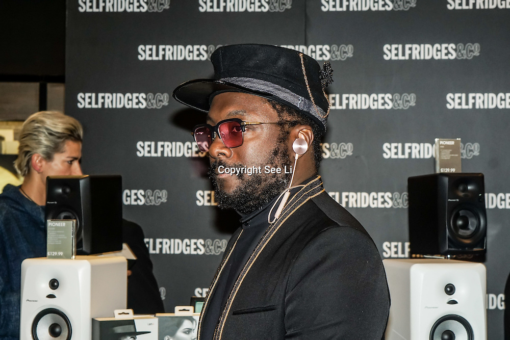 WILL.I.AM launches new headphones in Selfridges new technology hall in London,UK on 3rd December 2016. Photo by See Li