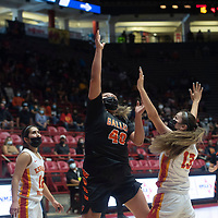 Gallup Bengal Hailey Long (40) takes a shot in the paint as Espanola Valley Sundevil Jasmaine Baca (13) defends during the New Mexico Class 4A girls basketball championship game at The Pit in Albuquerque Saturday. The Bengals defeated the Sundevils 63-51 to become New Mexico Class 4A state champions.