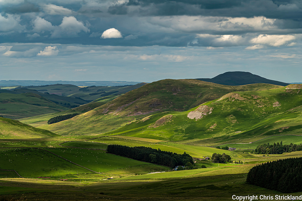 Camptown, Jedburgh, Scottish Borders, Scotland, UK. 6th July 2020. Hindhope in the upper Kalewater and the Cheviot Hills.