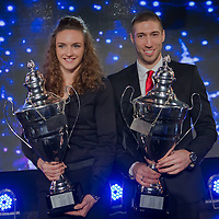 Sportswoman of the year Katinka Hosszu (L) of Hungary with sportsman of the year Krisztian Berki (R) of Hungary pose together during the Sports Stars Gala held in Budapest, Hungary on December 18, 2014. ATTILA VOLGYI