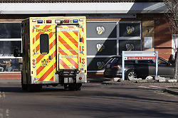 © Licensed to London News Pictures. 12/02/2020. Worthing, UK. An ambulance arrives at Worthing Hospital where the accident and emergency unit remains open. A doctor who worked here has contracted the coronavirus. Five of the eight confirmed coronavirus cases of the coronavirus in the United Kingdom have come from Brighton on the south coast. Photo credit: Peter Macdiarmid/LNP
