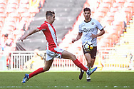 Omar Bugiel of Bromley FC (25) and Matt Lowe of Brackley Town (2) in action during the FA Trophy match between Brackley Town and Bromley at Wembley Stadium, London, England on 20 May 2018. Picture by Stephen Wright.