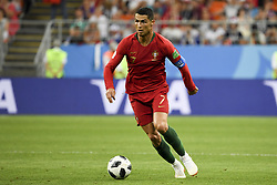 June 25, 2018 - Saransk, Russia - Cristiano Ronaldo of Portugal pictured in action during the 2018 FIFA World Cup Group B match between Iran and Portugal at Mordovia Arena in Saransk, Russia on June 25, 2018  (Credit Image: © Andrew Surma/NurPhoto via ZUMA Press)