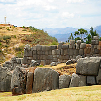 South America, Peru, Cusco. The fortress of Sacsayhuaman, on the outskirts of Cusco in the Andes.