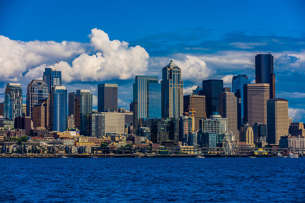 Downtown Seattle from Puget Sound, Washington USA.