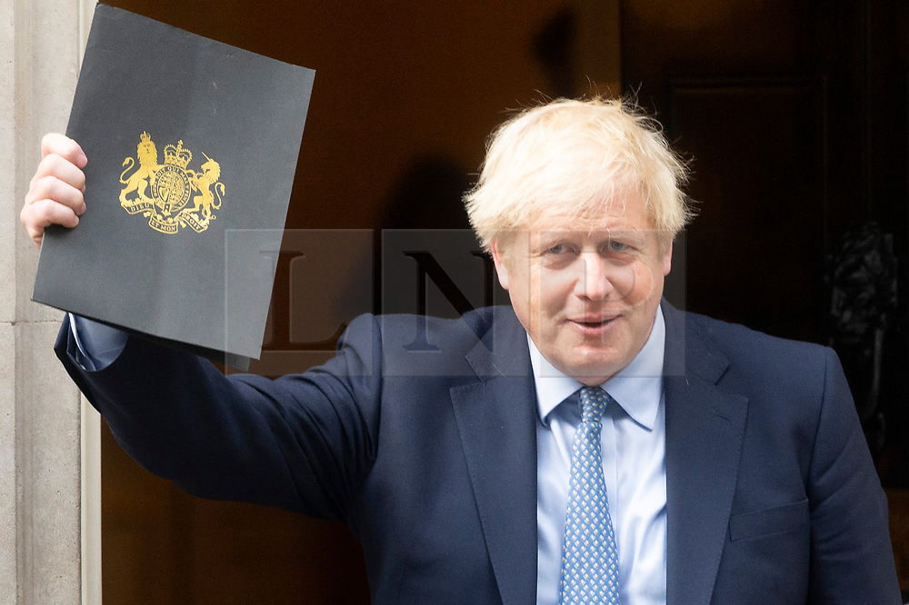 © Licensed to London News Pictures. 25/09/2019. London, UK. British Prime Minister Boris Johnson leaves No10. Downing St to attend the re-opening of Parliament. Yesterday, the Supreme Court ruled that the prorogation of Parliament was unlawful. Photo credit: Ray Tang/LNP