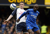 Photo: Chris Ratcliffe.<br />Chelsea v Tottenham Hotspur. The Barclays Premiership. 11/03/2006.<br />Robbie Keane (L) of Spurs competes with Claude Makelele for the ball.