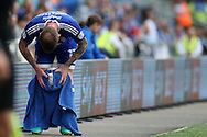 Aron Gunnarsson of Cardiff city wipes the ball with a towel as he prepares to take a long throw-in.EFL Skybet championship match, Cardiff city v Reading at the Cardiff city stadium in Cardiff, South Wales on Saturday 27th August 2016.<br /> pic by Andrew Orchard, Andrew Orchard sports photography.