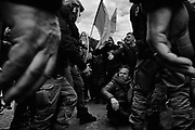 Pro-Kurdish demonstrators clash with Italian Police, near the Vatican, during a protest against the visit of Turkish president Recep Tayyip Erdogan, on February 05, 2018, in Rome, Italy. Christian Mantuano / OneShot
