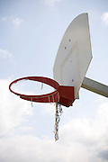 basketball hoop with broken net