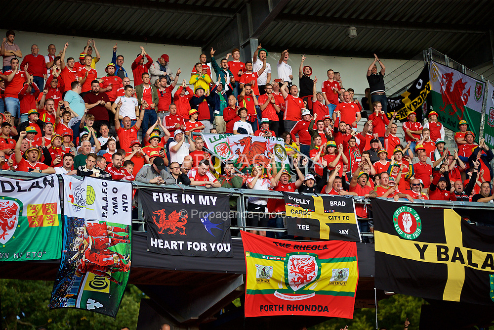 AARHUS, DENMARK - Sunday, September 9, 2018: Wales supporters before the UEFA Nations League Group Stage League B Group 4 match between Denmark and Wales at the Aarhus Stadion. (Pic by David Rawcliffe/Propaganda)