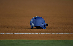 November 1, 2017 - Los Angeles, California, U.S. - Los Angeles Dodgers' Corey Seager's helmet sits along the first base line after breaking his bat on a ground ball out to end the inning with runners in scoring position in the 6th inning of game seven of a World Series baseball game at Dodger Stadium on Wednesday Nov. 1, 2017 in Los Angeles. (Photo by Keith Birmingham, Pasadena Star-News/SCNG) (Credit Image: © San Gabriel Valley Tribune via ZUMA Wire)