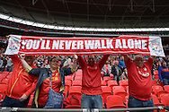 Liverpool fans hold up 'You'll never walk alone' banner before k/o. The FA Cup, semi final match, Aston Villa v Liverpool at Wembley Stadium in London on Sunday 19th April 2015.<br /> pic by John Patrick Fletcher, Andrew Orchard sports photography.