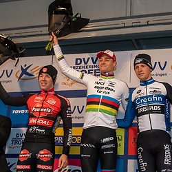 17-11-2019: Wielrennen: Veldrijden DVV cross: Hamme<br />Mathieu van der Poel wins in Hamme,  Laurens Sweek ends second and Tim Merlier third