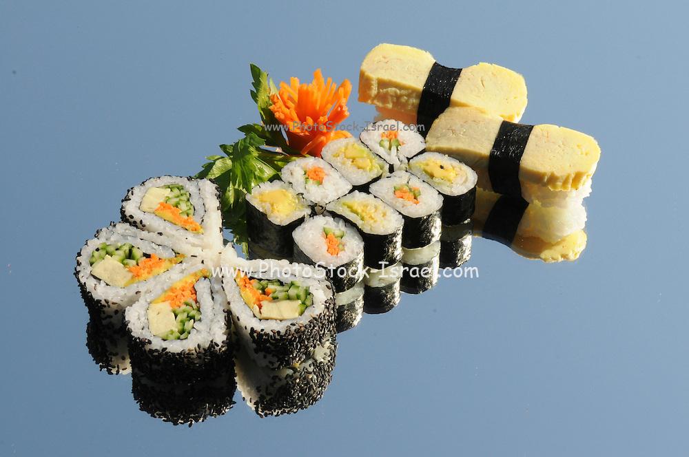 Assortment of Sushi including: Sushi Maki, futo maki, Insideout and nigiri