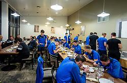 Players at dinner during training camp of NK Bravo before spring season of Prva liga Telekom Slovenije 2020/21, on January 20, 2021 in Terme Zrece, Slovenia.  Photo by Vid Ponikvar / Sportida