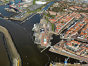Nederland, Friesland, Harlingen, 16-04-2012; centrum van de stad met veerdienst van Wagenborg op Terschelling .City of Harlingen and the ferry to the isle of Terschelling in the Waddensea..luchtfoto (toeslag), aerial photo (additional fee required);.copyright foto/photo Siebe Swart