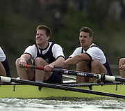London, ENGLAND, 30.03.2002, University [Varsity] Boat Race, Oxford vs Cambridge over the Championship course - Putney to Mortlake. left Lucus McGee and Dan Perkins. © Peter Spurrier/Intersport Images, email images@intersport-images.com. Tel +44 [0] 7973 819 551.