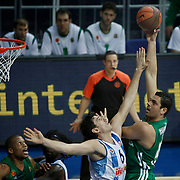 Panathinaikos's Konstantinos Tsartsaris (R) during their Euroleague Top 16 week 3 game 3 basketball match Fenerbahce Ulker between Panathinaikos at Fenerbahce Ulker Sports Arena in Istanbul Turkey on Thursday 02 February 2012. Photo by TURKPIX