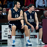 Anadolu Efes's Ermal KURTOGLU (L) and Vlado ILIEVSKI (R) during their BEKO Basketball League derby match Galatasaray between Anadolu Efes at the Abdi Ipekci Arena in Istanbul at Turkey on Sunday, November 13 2011. Photo by TURKPIX