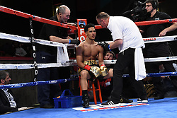 May 5, 2018 - Mashantucket, CT, U.S. - MASHANTUCKET, CT - MAY 05: Khiry Todd  (red tape)  battles Adrian Sosa  (blue tape) during their bout on May 5, 2018 at the Foxwoods Fox Theater in Mashantucket, Connecticut. Adrian Sosa defeated Khiry Todd via decision. (Photo by Williams Paul/Icon Sportswire) (Credit Image: © Williams Paul/Icon SMI via ZUMA Press)