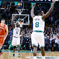 21 December 2012: Boston Celtics power forward Kevin Garnett (5) and Boston Celtics power forward Jeff Green (8) celebrate as Boston Celtics small forward Paul Pierce (34) made a 3 point jumpshot to tie the game at the end of the game during the Milwaukee Bucks 99-94 overtime victory over the Boston Celtics at the TD Garden, Boston, Massachusetts, USA.