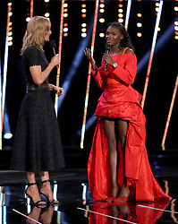 Dina Asher-Smith is interviewed by Gabby Logan during the BBC Sports Personality of the Year 2018 at Birmingham Genting Arena.