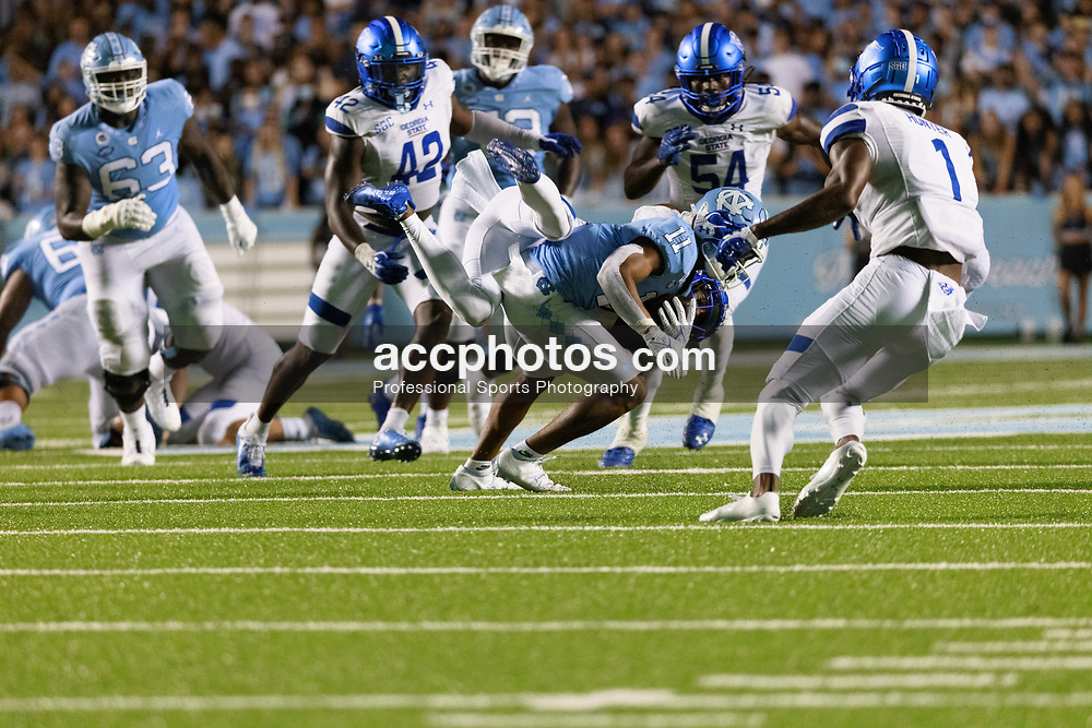 CHAPEL HILL, NC - SEPTEMBER 11: Josh Downs #11 of the North Carolina Tar Heels plays during a game against the Georgia State Panthers on September 11, 2021 at Kenan Stadium in Chapel Hill, North Carolina. North Carolina won 59-17. (Photo by Peyton Williams/Getty Images) *** Local Caption *** Josh Downs