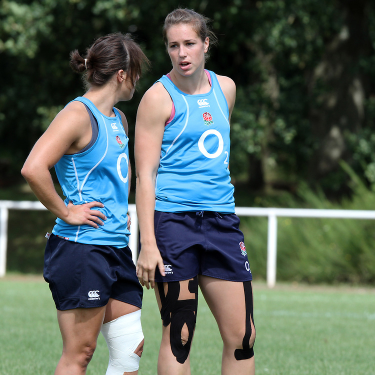 Katy Mclean and Emily Scarratt during training. WRWC England training at Stade Montelievres, Saintry, France, on 11th August 2014