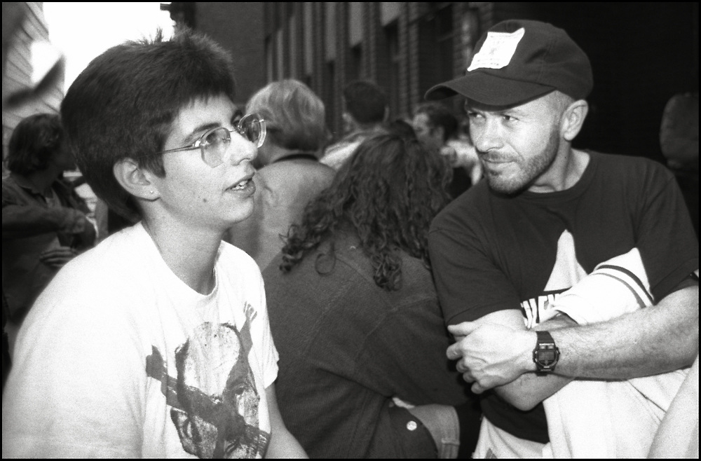 Jamie R Bauer and Brent Nicholson Earle of ACT UP NY waiting for arrestees to be released after Target City Hall action in NYC on March 28, 1989.