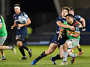 Sale Sharks centre Rohan Janse van Rensburg  puts in a big hit on Harlequins Mat Luamanu during a Gallagher Premiership match won by Sale Sharks 27-17 at the AJ Bell Stadium, Eccles, Greater Manchester, United Kingdom, Friday, April 5, 2019. (Steve Flynn/Image of Sport)