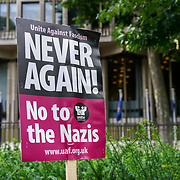 US Embassy: London, UK. 14th August, 2017. Supporters of Unite Against Fascism holding a vigil outside the US embassy in solidarity with anti-fascists in Charlottesville, Virginia, and in memory of Heather Heyer who was killed during an attack on anti-fascists there by a white supremacist.